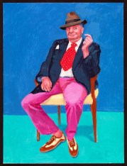 David Hockney (British, b. 1937): Barry Humphries, 26th, 27th, 28th March 2015. Acrylic on canvas, 48 x 36 inches (121.9 x 91.4 cm). © David Hockney. Photo: Richard Schmidt.