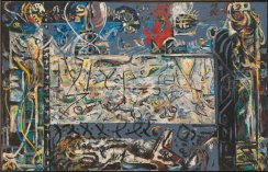 Jackson Pollock (American, Abstract Expressionism, 1912-1956): Guardians of the Secret, 1943. Oil on canvas, 48-3/8 x 75-3/8 inches (122.89 x 191.47 cm). San Francisco Museum of Modern Art, California, USA. © Pollock-Krasner Foundation / Artists Rights Society (ARS), New York.
