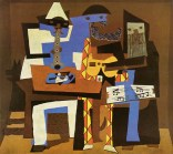 "Pablo Picasso (Spanish, Cubism, 1881-1973): Three Musicians, 1921. Oil on canvas, 6' 7"" x 7' 3-3/4"" (200.7 x 222.9 cm). Museum of Modern Art, New York, NY, USA. © This artwork may be protected by copyright. It is posted on the site in accordance with fair use principles."