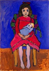 Gabriele Münter (German, Expressionism, 1877–1962): Girl with Doll, 1908–09. Oil on cardboard. Milwaukee Art Museum, Wisconsin, USA. © Artists Rights Society (ARS), New York / VG Bild-Kunst, Bonn. © This artwork may be protected by copyright. It is posted on the site in accordance with fair use principles.