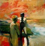 Elmer Bischoff (American, 1916–1991): Two Figures at the Seashore, 1957. Oil on canvas, 57-7/8 x 56-7/8 inches. Orange County Museum of Art, Newport Beach, California, USA. © Estate of Elmer Bischoff. © This artwork may be protected by copyright. It is posted on the site in accordance with fair use principles.