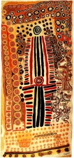 Paddy Jupurrurla Nelson, Paddy Japaljarri Sims, and Larry Jungarrayi Spencer (Australian, Aboriginal — Warlpiri people, Yuendumu, Western Desert, Northern Territory, Australia): Yanjilypiri Jukurrpa (Star Dreaming), 1985. Synthetic polymer paint on canvas, 372 x 171.4 cm. National Gallery of Australia, Canberra. © Kwentwentjay Jungurrayi Spencer. Licensed by Viscopy. © Paddy Jupurrurla Nelson. Licensed by Viscopy. © Paddy Japaljarri Sims. Licensed by Viscopy. © This artwork may be protected by copyright. It is posted on the site in accordance with fair use principles.