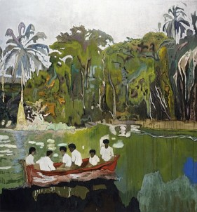 Peter Doig (Scottish, b. 1959): Red Boat (Imaginary Boys), 2004. Oil on canvas. 200 x 186 cm. Private Collection. © Peter Doig.