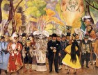 Diego Rivera (Mexican; Social Realism, Mexican Mural Movement; 1886-1957): (central detail) Dream of a Sunday Afternoon in Alameda Park (Sueno de una tarde dominical en la Alameda Central), 1947-48. Fresco: 7 tons, 4.8 x 15 m (13 x 50 ft). Museo Mural Diego Rivera, Mexico City, Mexico City. Originally in the Hotel del Prado on Alameda Park. © This artwork may be protected by copyright. It is posted on the site in accordance with fair use principles.