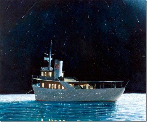 Julio Larraz (Cuban, b. 1944): Lluvia de Estrellas (Rain of Stars), c. 2008. Oil on canvas. © Julio Larraz. © This artwork may be protected by copyright. It is posted on the site in accordance with fair use principles.