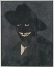 Kerry James Marshall, A Portrait of the Artist as a Shadow of His Former Self, 1980. Egg tempera on paper; 8 x 6-1/2 inches (20.3 x 16.5 cm). © Kerry James Marshall. Photo: Matthew Fried. © MCA Chicago