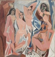 "Pablo Picasso (Spanish, 1881–1973): Les Demoiselles d'Avignon, Paris, 1907. Oil on canvas, 8' x 7' 8"" (243.9 x 233.7 cm). Museum of Modern Art, New York, NY, USA."