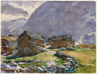 John Singer Sargent (American, Impressionism, 1856–1925): Simplon Pass, Chalets; 1911. Translucent watercolor, with touches of opaque watercolor and wax resist, over graphite on paper; 40.0 x 52.1 cm (15-3/4 x 20-1/2 inches). Museum of Fine Arts, Boston, Massachusetts, USA. Photo: © Museum of Fine Arts, Boston.