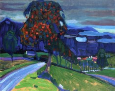 Wassily Kandinsky (Russian, Expressionism, 1866-1944): Autumn near Murnau, 1908. Oil on board, 32.3 x 40.9 cm. Private Collection. © This artwork may be protected by copyright. It is posted on the site in accordance with fair use principles.