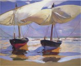 Joaquin Sorolla (Valencian Spanish, Impressionism, 1863-1923): Beached Boats, 1915. Oil on canvas, 100 x 120 cm (39 x 47 inches).