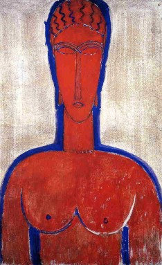 Amedeo Modigliani (Italian, Modernism, 1884-1920): Big Red Buste (Leopold II), 1913. Oil on canvas.