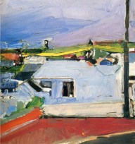 Richard Diebenkorn (American, Bay Area Figurative Movement, 1922–1993): Chabot Valley, 1955. Oil on canvas, 19-1/2 x 18-3/4 inches. Private Collection of Christopher Diebenkorn. © The Estate of Richard Diebenkorn. © This artwork may be protected by copyright. It is posted on the site in accordance with fair use principles.