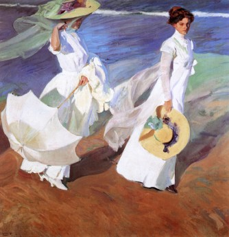 Joaquin Sorolla (Valencian Spanish, Impressionism, 1863-1923): Paseo a la orillas del mar (Walk to the Sea), 1909. Oil on canvas, 205 × 200 cm (80.7 × 78.7 inches). Sorolla Museum, Madrid, Spain.