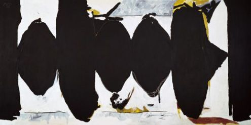 Robert Motherwell (American, Abstract Expressionism, 1915–1991): Elegy to the Spanish Republic No. 171, 1988-90. Acrylic on canvas, 84 x 168-1/8 inches. Modern Art Museum of Fort Worth, Fort Worth, Texas, USA. © Dedalus Foundation, Inc./Licensed by VAGA, New York, NY.