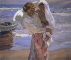 Joaquin Sorolla (Valencian Spanish, Impressionism, 1863-1923): Just Out of the Sea, 1915. Oil on canvas, 130 x 155 cm. Museo Sorolla, Madrid, Spain.