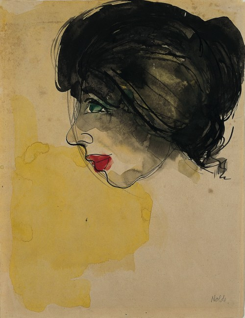 """Head in Profile,"" 1919, by German artist Emile Nolde (1867-1956) (Emile Nolde)"