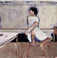 Richard Diebenkorn (American, Bay Area Figurative Movement, 1922–1993): Woman on Stool, 1965. Gouache on paper, 26-1/10 × 20-1/10 inches (66.4 × 51.1 cm). © The Richard Diebenkorn Foundation. © This artwork may be protected by copyright. It is posted on the site in accordance with fair use principles.