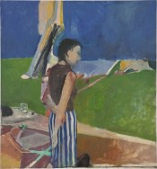 Richard Diebenkorn (American, Bay Area Figurative Movement, 1922–1993): Girl on a Terrace, 1956. Oil on canvas, 179-1/10 × 166-1/10 inches (454.9 × 421.9 cm). © The Richard Diebenkorn Foundation. © This artwork may be protected by copyright. It is posted on the site in accordance with fair use principles.