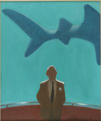 Julio Larraz (Cuban, b. 1944): Master Spy, 2011. Oil on canvas, 72 x 59-4/5 inches (183 x 152 cm). Contini Art UK, London, UK. © Julio Larraz. © This artwork may be protected by copyright. It is posted on the site in accordance with fair use principles.