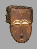 "Unidentified Kuba Artist: Mask, Late 19th or early 20th century. Wood, pigments, fiber; 13 x 9-1/2 x 8-1/2 inches (33 x 24.1 x 21.6 cm). Brooklyn Museum, Brooklyn, NY, USA. Creative Commons-BY. Photo: Sarah DeSantis, Brooklyn Museum Exhibition: ""Disguise: Masks & Global African Art"" April 29 — September 18, 2016 Brooklyn Museum, NY"