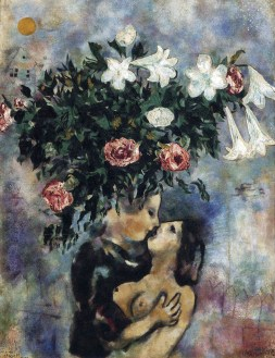 Marc Chagall (French, born Russia — present-day Belarus; 1887-1985): Lovers under Lilies, 1925. Oil on canvas. Private Collection. © This artwork may be protected by copyright. It is posted on the site in accordance with fair use principles.
