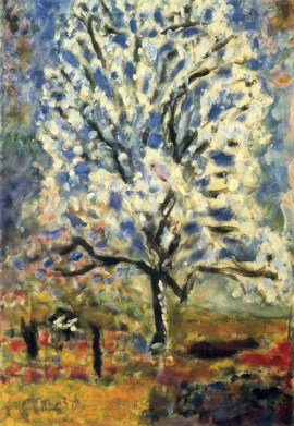Pierre Bonnard (French; Les Nabis Founding Member, Post-Impressionism, Intimism; 1867-1947): The Almond Tree in Blossom, 1947. Oil on canvas. © Artists Rights Society (ARS), New York / ADAGP, Paris. © This artwork may be protected by copyright. It is posted on the site in accordance with fair use principles.