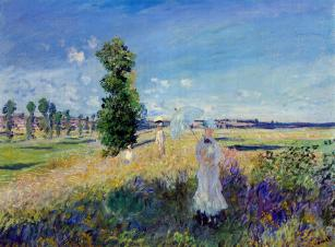 Claude Monet (French, Impressionism, 1840-1926): The Promenade, Argenteuil; 1875. Oil on canvas, 59.5 x 80 cm. Private Collection, Japan.