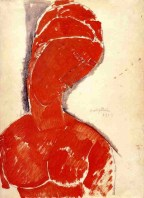 Amedeo Modigliani (Italian, Modernism, 1884-1920): Nude Bust, 1915. Red gouache and black ink wash on wove paper, 14 x 10-5/16 inches (35.56 x 26.19 cm). Minneapolis Institute of Arts, Minneapolis, Minnesota, USA.