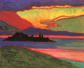 Gabriele Münter (German; Expressionism, Der Blaue Reiter; 1877-1962): Sunset over Staffelsee, 1910-11. Oil on cardboard, 33 x 40.6 cm (12.99 x 15.98 inches). Private Collection. © This artwork may be protected by copyright. It is posted on the site in accordance with fair use principles.
