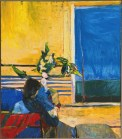 Richard Diebenkorn (American, Bay Area Figurative Movement, 1922–1993): Girl with Plant (Girl with Vase at Window), 1960. Oil on canvas, 80 x 69-1/2 inches. The Phillips Collection, Washington, D.C., USA. © The Estate of Richard Diebenkorn. © This artwork may be protected by copyright. It is posted on the site in accordance with fair use principles.