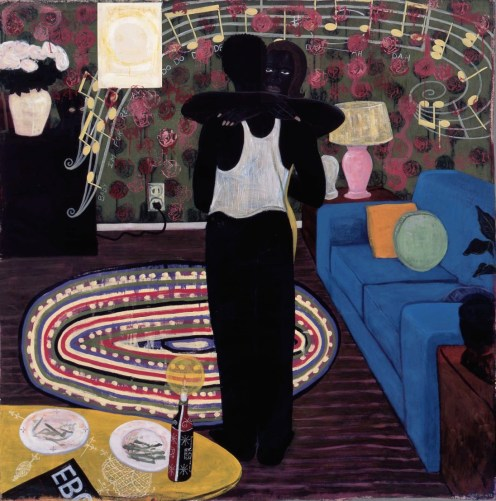 Kerry James Marshall (American, b. 1955): Slow Dance, 1992-1993. Mixed media and acrylic on canvas, 75-1/4 x 74-1/4 inches (191.1 x 188.6 cm). David Zwirner Gallery, New York, NY. © Kerry James Marshall.
