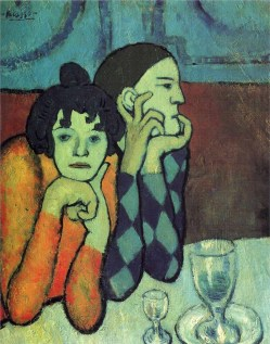 Pablo Picasso (Spanish, Blue Period, 1881-1973): Harlequin and his companion (The Saltimbanques), Les deux saltimbanques; 1901. Oil on canvas, 73 x 60 cm. Pushkin State Museum of Fine Arts, Moscow, Russia. © This artwork may be protected by copyright. It is posted on the site in accordance with fair use principles.