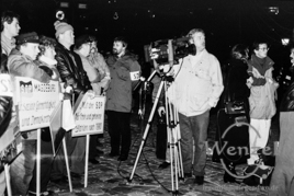 SDP-Delegation empfängt Willy Brandt - Domplatz Magdeburg - 19. Dezember 1989