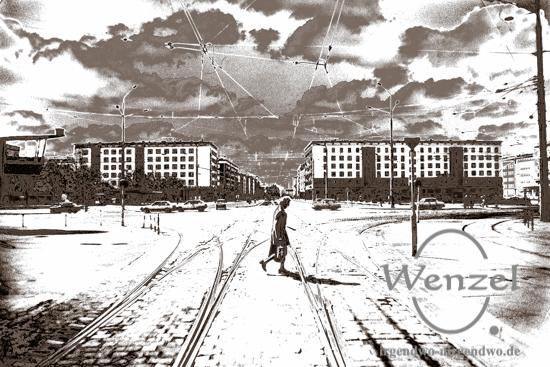 Magdeburg – Zentrum 1990  –  OHNE  Allee-Center (l.) und Ullrichshaus (r.)