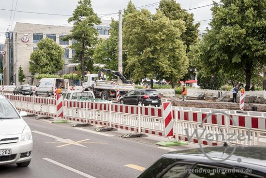 Ernst-Reuter-Allee – hier richtet die MVB eine neue Haltestellen ein