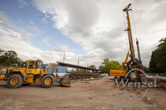 Baustelle City-Tunnel Magdeburg  –  Gründungsarbeiten am Damaschekeplatz