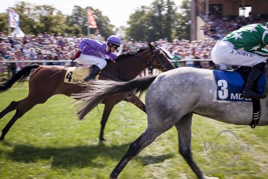 Daniele Porcu (3), macht im Rennen um den Preis des Assekuranz Kontor Alicke den Sieg für sich klar.