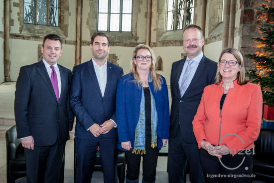 André Schröder (CDU), Frank Sitta (FDP), Katrin Budde (SPD),  Wulf Gallert (Die Linke) und Prof. Dr. Claudia Dalbert (Bündnis 90/Die Grünen) (v.l.)