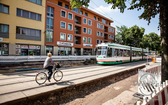 Gleisviereck, Kreuzung, Baustelle, Leipziger Straße, Wiener Straße, MVB, Magdeburg, Ottostadt –  Foto Wenzel-Oschington.de