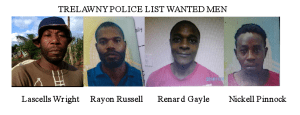 Trelawny police list four wanted men