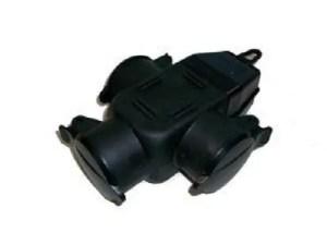 3 weg verdeelstekker rubber 230 volt