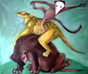 Die drei Artisten, Öl, 50 x 60, 2013