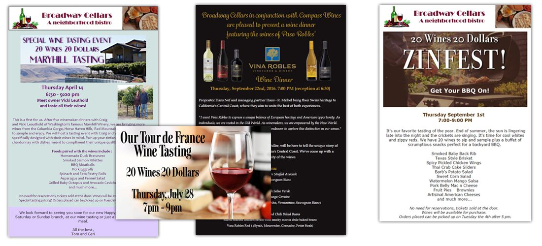Broadway Cellars Email Announcements