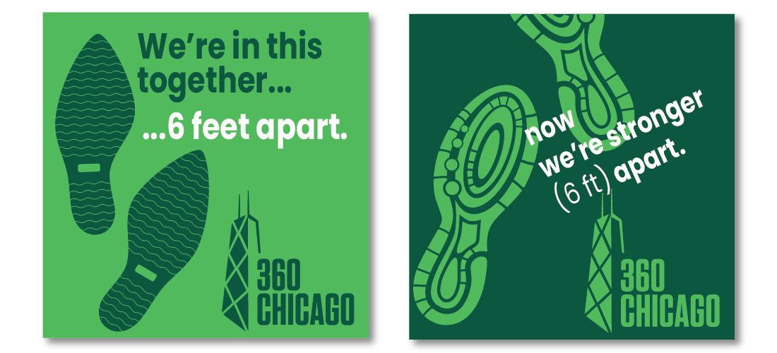 Social distancing floor signs for 360 CHICAGO Observation Deck