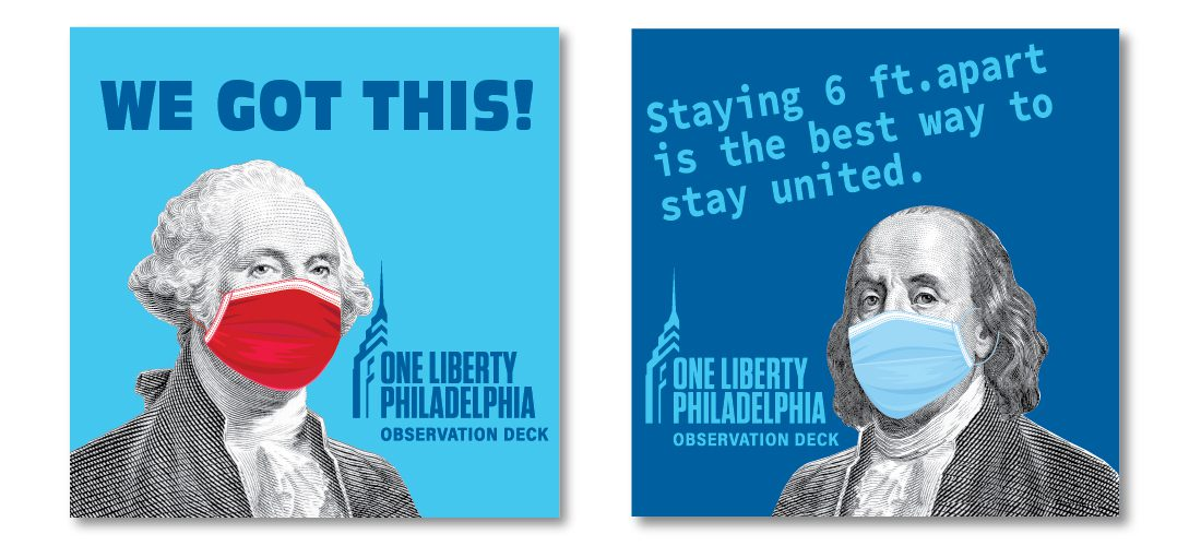 social distancing floor signs for One Liberty Observation Deck