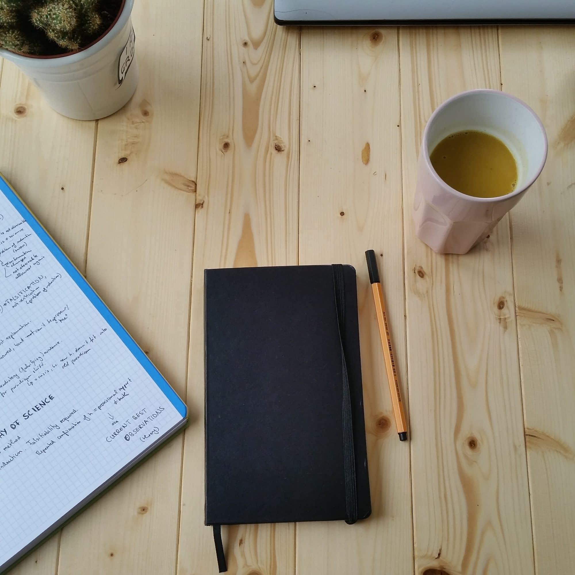 wooden desk flatlay notebook coffee mug pen. Stop procrastinating