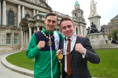 Ireland's Commonwealth Youth team and coaches hosted by Belfast Lord Mayor Arder Carson at Belfast City Hall Picture - Chris Scott / AMMG