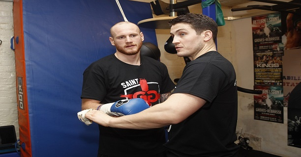 GEORGE GROVES TRAINING HAMMERSMITH,LONDON PIC;LAWRENCE LUSTIG  GEORGE GROVES GETS READY FOR HIS COMEBACK FIGHT AGAINST ANDREA DI LUISA AT LONDONS COPPER BOX ARENA ON SATURDAY(30TH JAN) UNDER THE GUIDANCE OF NEW TRAINER SHANE McGUIGAN