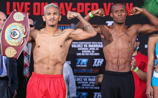 Dos Santos (R) ahead of his World Title challenge