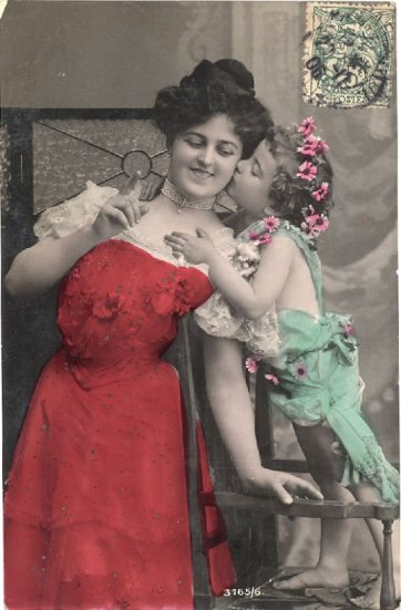 Vintage mother and child portrait